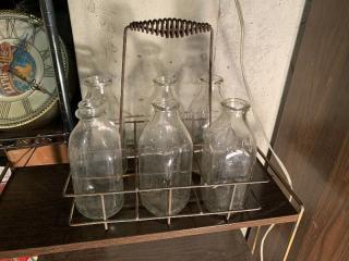 6 Vintage Milk Bottles With Metal Carrier