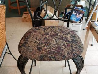 Floral Barstool with Wrought Iron Frame