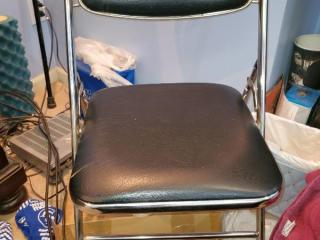 Metal Folding Chair with Black Seat CONTENTS NOT INCLUDED