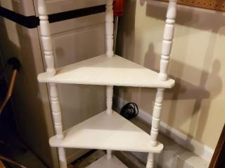 White 4 Tier Wooden Corner Shelf