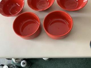 Set of 5 Red Waechtersbach Bowls