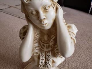 "Vintage 1971 U J Kendrivk Universal Statuary Corp. Young Victorian Girl Bust 136B 10"" T"