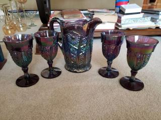 Vintage Heirloom Pitvher Indiana Carnival Glass Daisy Amethyst Amberina With Glasses