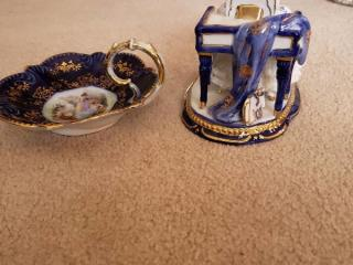 Limoges Piano Player and Victorian Blue Nappy