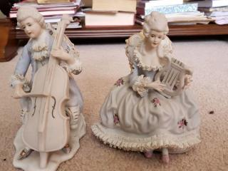 Porcelain Victorian Musicians Man and Woman Music Boxes