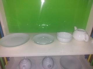 White Teapot,Teacup, and Saucer Set