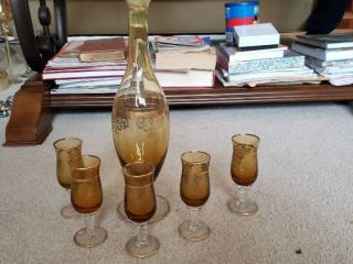 Italian Amber and Gold Rimmed Decanter and 5 Shot Glasses