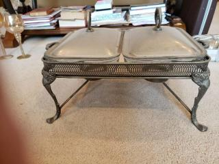 Vintage Marinex Two 1qt Footed Glass Silver Plated Covered Dish
