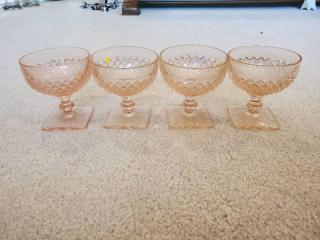 Anchor Hocking Miss America Pink Depression Glass Sherbets Set of 4
