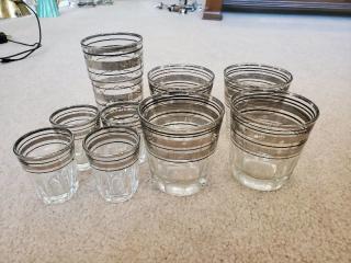Lot of 9 Vintage Bar Glasses and Shot Glasses