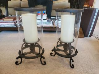 Cast Iron Base Set of Mantle Candles