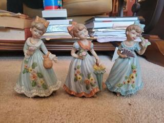 Lot of 3 Marika Porcelain Little Girls with Blue Dresses