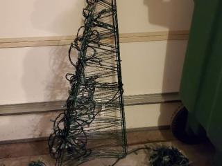 Foldable Metal Christmas Tree with 3 Rounds of Christmas Lights