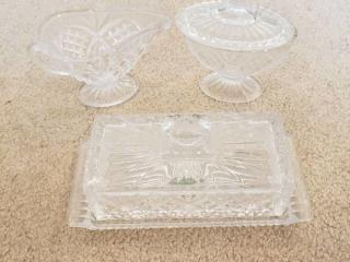 Shannon Crystal Butter Dish, Cream and Sugar Crystal