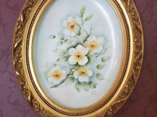 Hand Painted Framed Opal Porcelain