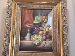 Gilded Frame Grape Oil Painting