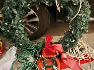 Lot with Light up Christmas Reef and Extension Cord. Tree Stand and Christmas Power Strip