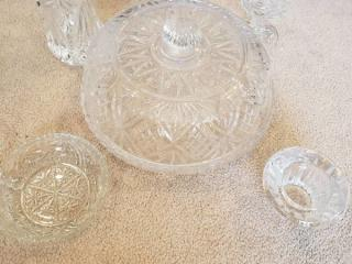 5 Piece Lot of Diamond Cut Crystal Dishware ( Cake Platter, Ashtray, Vase, Candy Dish, and Nappy)