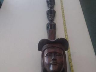 3ft Tall African Wooden Carved Pipe