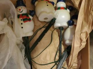 Lot of Vintage Snowman Yard Lights