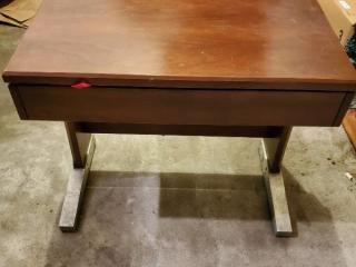 Wooden Piano Bench with Metal Base