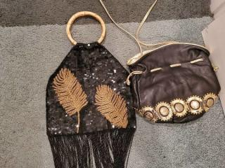 Lot of Cute Vintage Black Purses one with Beaded Fringe