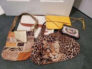 Lot of 5 Cute Purses (Cheetah, Yellow, Victorian, Shiny, Laptop Bag)