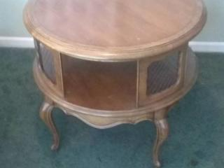 Round Vintage Wooden Table with Cubby