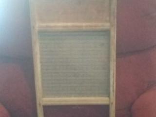 Wood and Glass Decorative Washboard