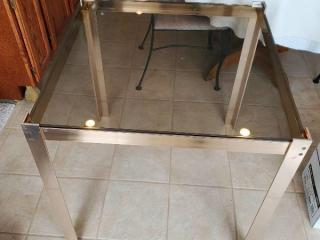 Modern Stainlews Metal Table with Glass Top