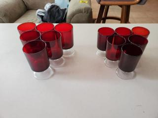 Lot of Cranberry Glasses 2 Sizes