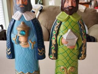 Pair of Religious Candle Holders. (Wise Men?)