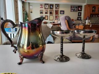 Silver Plate Pitcher and 2 cups