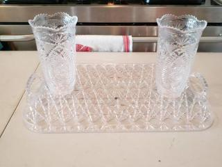 Plastic Vase with Tray Crystal Looking
