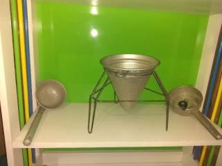 Vintage Strainer, Masher and Ladle Set