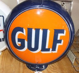 Gulf globe, glass insert plastic base 13