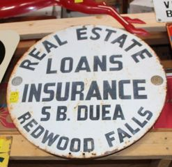 SB Duea Real Estate Loans Insurance single sided tin sign, 24