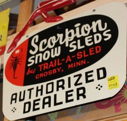 Scorpion Snow Sleds single sided tin sign, 24