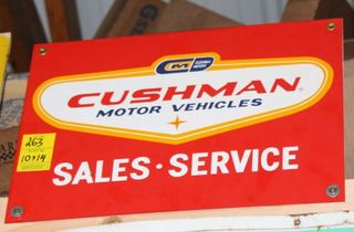 Cushman Motor Vehicles single sided tin sign, 10