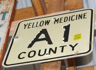Yella Medicine County A1 single sided tin sign, 16