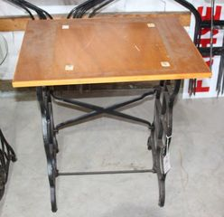 Cast Iron sewing maching stand with wood top, 18.5