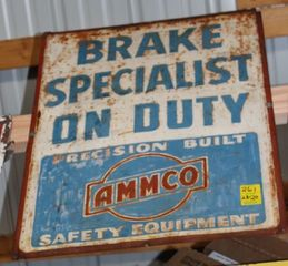 Ammco Brake Specialist On Duty single sided tin sign, 28
