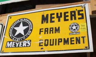 Meyer's Farm Equipment single sided tin sign, 12