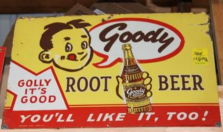 Goody Root Beer single sided tin sign, 13.5