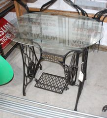 Singer treadle sewing machine stand with glass top, 25