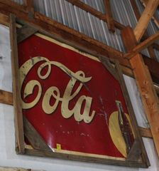 Half of a Coca Cola single sided tin sign, 47