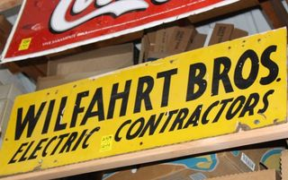 Wilfahrt Bros Electirc Contractors single sided masonite sign, 12