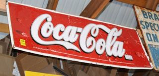 Coca Cola single sided tin sign, 17.75