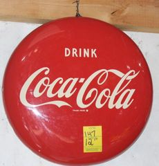 Coca Cola metal button sign, 12