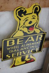 Bear Wheel Alinement balancing service single sided metal sign, 17.5